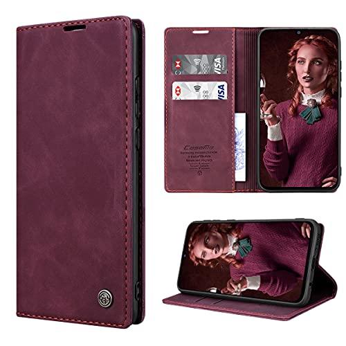RuiPower Handyhülle für Samsung Galaxy M31 Hülle Premium Leder PU Flip Hülle Magnet Klapphülle Lederhülle Silikon Bumper Schutzhülle für Samsung Galaxy M31 Tasche - Wein Rot