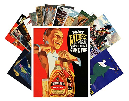 24 Postkarten Whiskey and Cognac Ads Posters Vintage Adverts