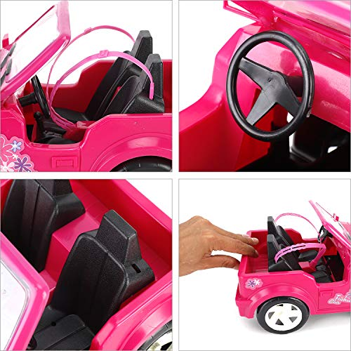 Liberty Imports Pink Convertible Car Cruiser Sport Utility Vehicle Toy for Dolls (Compatible with Barbie)