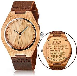 CUCOL - Reloj de pulsera para hombre, de madera, correa de piel de vaca marrón, estilo informal, con caja de regalo