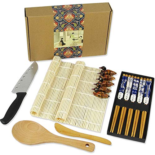 Artcome 15 Pieces Sushi Making Kit Professional Traditional Sushi Set with 1 Sushi Knife, 2 Bamboo Sushi Mats, 5 Pairs of Chopsticks, 5 Chopsticks Holders, 1 Tableware Bag, 1 Paddle and 1 Spreader