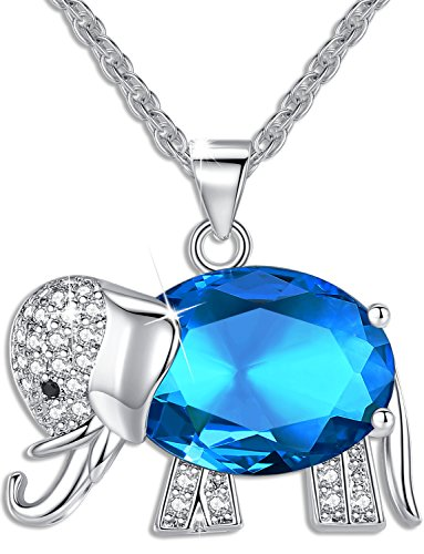 Floray Collane con pendente Porpora Cristallo con Cubic Zirconia, Elefante, Catena lunghezza:45cm, Blu Colore