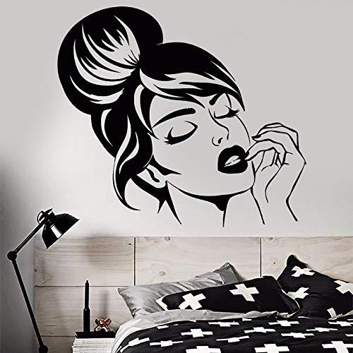 wZUN Vinyl Wandtattoos schönes Mädchen Gesicht Wandaufkleber Hauptschlafzimmer Dekoration Wandmalerei Schönheitssalon Dekoration 70x63cm