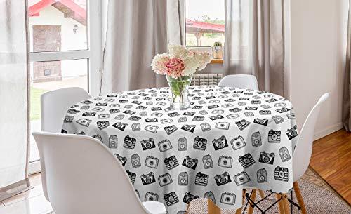 ABAKUHAUS Wijnoogst Rond Tafelkleed, Potlood Getrokken Retro Camera's, Decoratie voor Eetkamer Keuken, 150 cm, Grijs en Witte Houtskool
