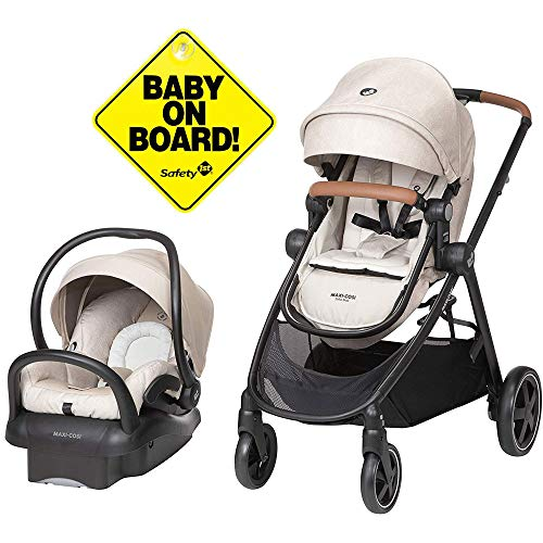 Maxi-Cosi Zelia Travel System with Mico 30 Car Seat - Nomad Sand with Baby On Board Sign