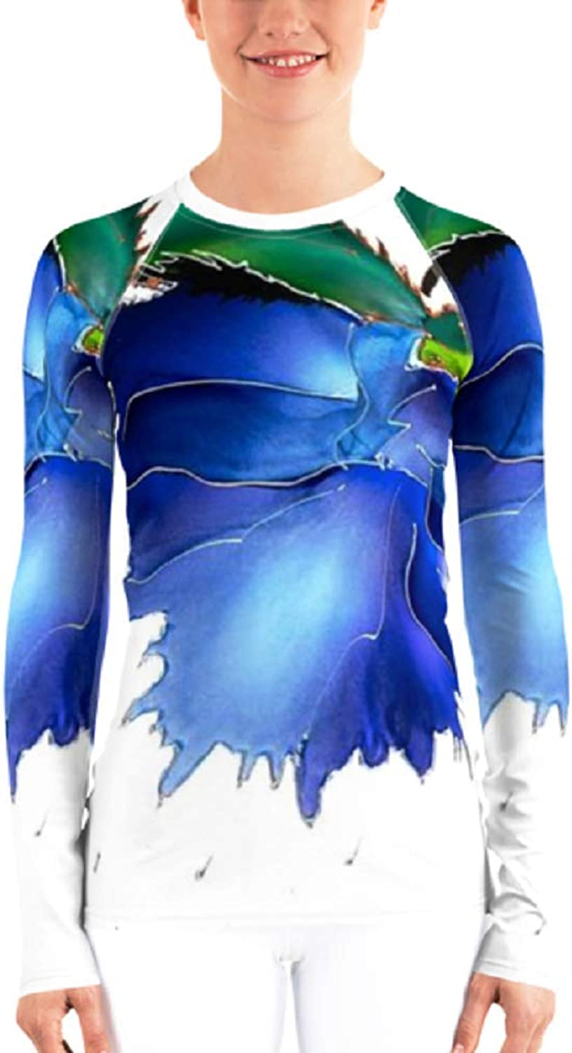 bluee Flower Original Artwork Women's Rash Guard