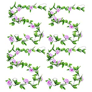 Zhiheng 4 Pack 78ft Artificial Rose Vines with Green Leaves Fake Flowers Plants Hanging Garden Vine Garland for Wedding Home Party Decor Rustic Craft Supplies (Lilac)