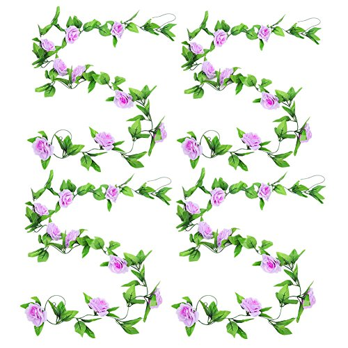 Zhiheng 4 Pack 2.4 Meters Artificial Rose Vines with Green Leaves Fake Flowers Plants Hanging Garden Vine Garland for Wedding Home Party Decor Rustic Craft Supplies (Lilac)