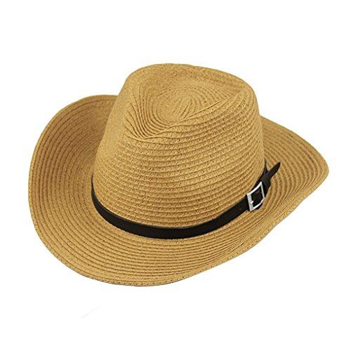 FakeFace Herren Damen Cowboyhut Westernhut Sonnenhut Strandhut Modehut Sonnenschutz Cowgirl Cowboy Hut Hüte Western Lederband für Erwachsene