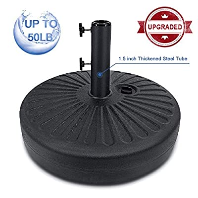 FRUITEAM Umbrella Base Heavy Duty Stand Pole Holder 50LB Outdoor Patio Umbrella Base 1.5inch Thickened Steel Pole Round Base Water Filled for Outdoor, Garden, Lawn