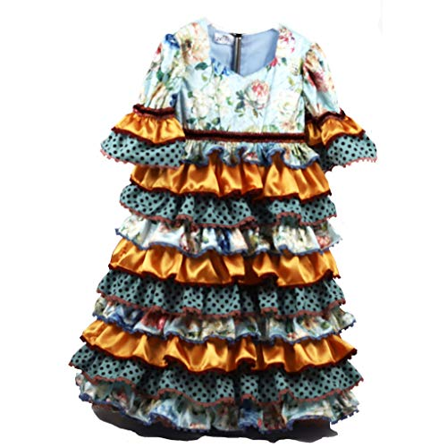 Vestido Traje Flamenca niña bebé (Desde 12 Meses hasta 24 Meses) - Modelo Remedios - Hecho a Mano - Excellent (18 Meses, Celeste y Naranja)