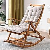 Chaise berçante pliante Balcon Ménage inclinable en bambou pour adultes Escape Rocking Chair Chaise berçante Pause déjeuner Chaise inclinable Dossier Canapé pour les personnes âgées Installation gra