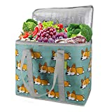 Large cooler Bag Insulated Reusable Grocery Bag with Zipper Top Insulated Bag for Hot Cold Frozen Food Transport Tote Thermal food Delivery Bag Durable Collapsible Stands Upright