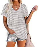 White T Shirts for Women Casual Loose Striped Tops with Pocket L