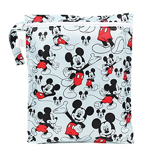Bumkins Waterproof Wet Bag, Disney Washable, Reusable for Travel, Beach, Pool, Stroller, Diapers, Dirty Gym Clothes, Wet Swimsuits, Toiletries, 12x14 – Mickey Mouse