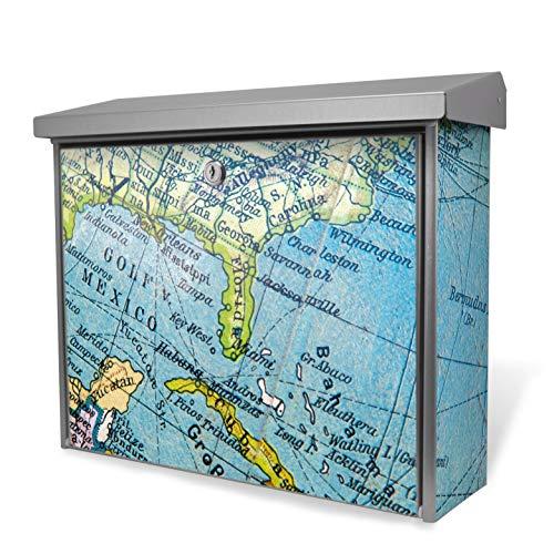 Burg-Wächter Edelstahl Briefkasten | Modell Inoxstar 4700 Ni 38,5 x 31,5 x 12cm | witterungsbeständig, mit Zylinderschloss, 2 Schlüssel, Montagematerial | Motiv Globus