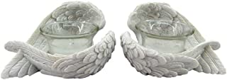 Angel Wings White Tea Light Candle Holder - Set of 2 by Giftbrit