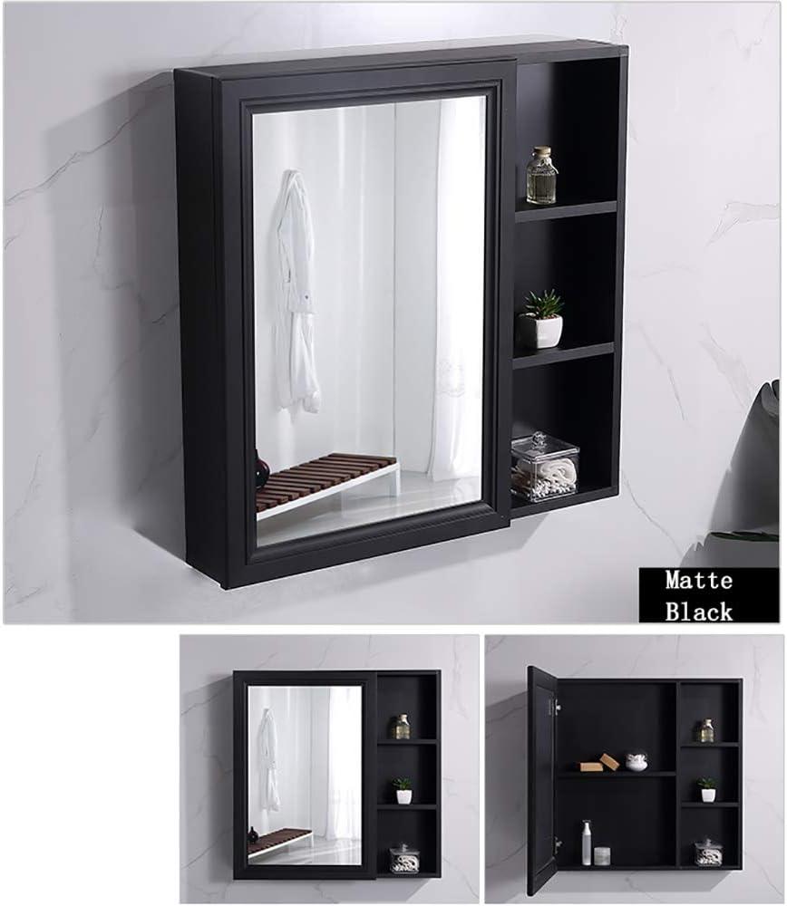 Simple European Wall-Mounted Bathroom Mirror Cabinet Space Aluminum Waterproof Hidden Locker with Mirror Matte Black