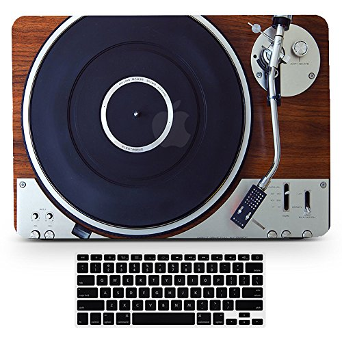 Vintage Design Hard Case for MacBook Pro15 Old Retina Model A1398 Wood Music Player Turnable Design Art Paint Hard Rubberized Case and Black Keyboard Cover for MacBook Pro 15.4 inch