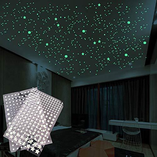 Für Kinderzimmer Home Wandzubehör Leuchtender Blasenaufkleber 1 Blatt Dreidimensionale PVC-Sterne/Rundpunkt-DIY-Dekoration