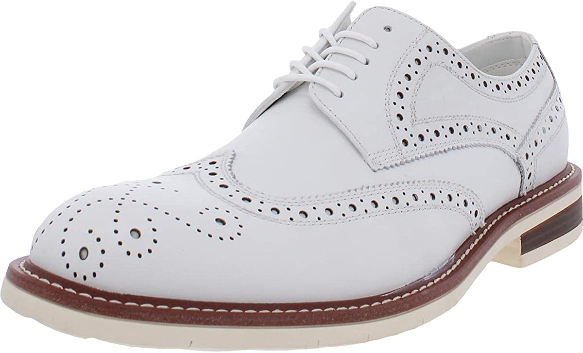 Kenneth Cole New York Mens Kieran Leather Lace-Up Oxfords White 9.5 Medium (D)