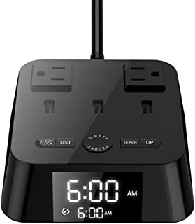 Alarm Clock Charger w/3 USB Ports 2 Outlets & 6ft Power Cord, UL Listed Charging Station Power Strip for Bedside,Home,Hotel,Office(4 Dimmer Brightness,Snooze, ON/OFF Switch,DST Time,Battery Backup)