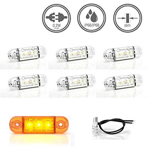LED-MARTIN® 6er Sparset Umrissleuchte KLAR/ORANGE 12/24V Begrenzungsleuchte Positionsleuchte dünn - klares Gehäuse - gelbe Lichtfarbe