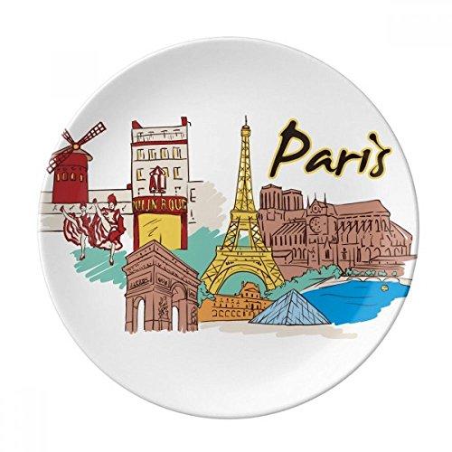 DIYthinker France Paris Tour Eiffel Aquarelle décorative Porcelaine Assiette à Dessert 8 Pouces Dîner Accueil Cadeau 21cm diamètre Multicolor