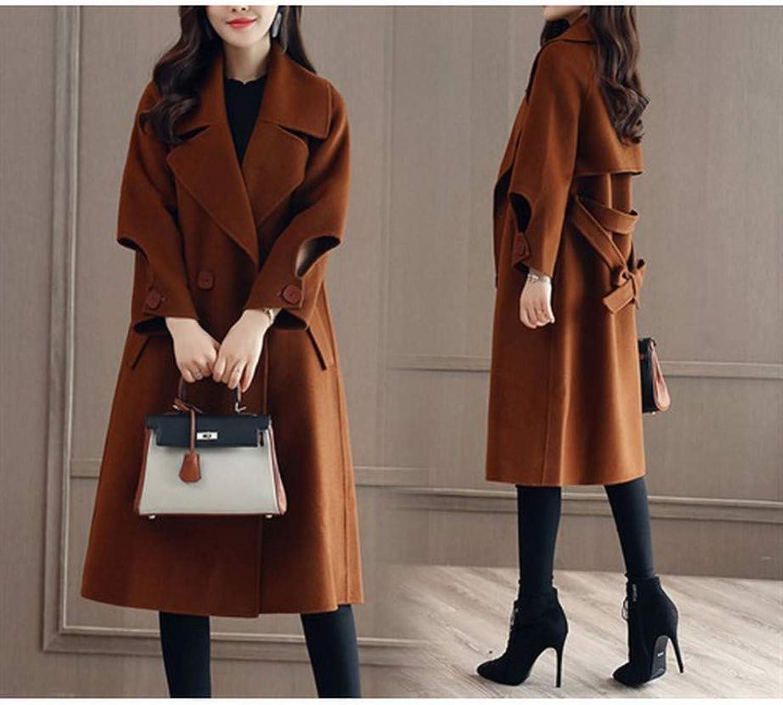Coat Jacket, Woolen Coat, Woolen Coat, Female LongSleeved Coat, Autumn and Winter Loose Korean Thin DoubleFaced Coat PLLP