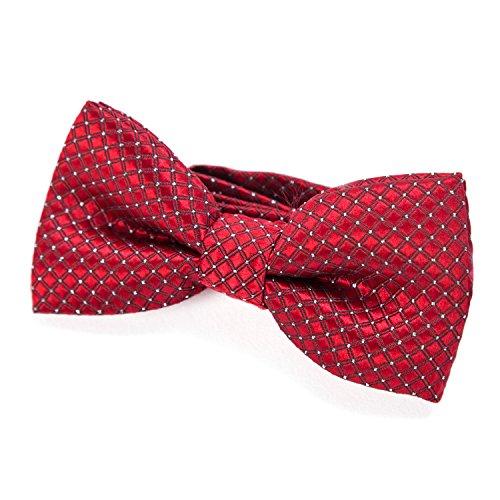 DonDon pajarita noble para niños chico - combinada y ajustable 9x 4,5 cm - de color rojo - brillada con argénteo puntos