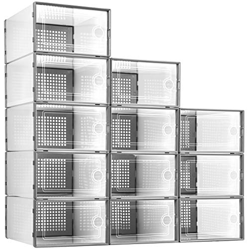 Kuject 12Pcs Shoe Storage Boxes Clear Plastic Stackable Shoe Organizer Bins Drawer Type Front Opening Shoe Holder Containers