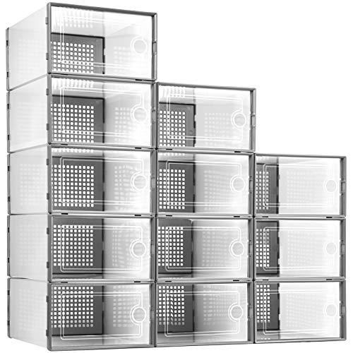 Kuject 12 cajas de almacenamiento de zapatos, almacenamiento de zapatos apilables de plástico transparente, tipo cajón de apertura frontal, contenedores para zapatos