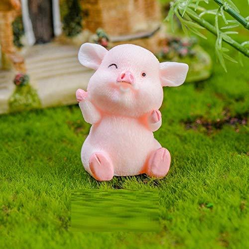 BBKX esculturas y Accesorios Decorativos Piglet Fortune Pig Cake Coche Regalo Decoración Suculento Colgante de Dibujos Animados Cerdo Año Resina Artesanía