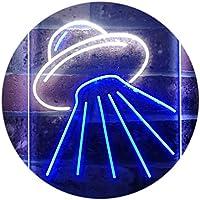 UFO Alien Spaceship Dual Color LED看板 ネオンプレート サイン 標識 白色 + 青色 300 x 400mm st6s34-i3336-wb