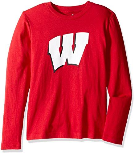 NCAA Youth Jungen T-Shirt mit Team-Logo, langärmelig, Jungen, NCAA Kids & Youth Boys Long Sleeve Team Logo Tee, University Red, 14-16