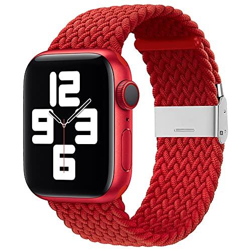 Ternzun Banda de tela de nailon para Apple Watch Series 6 SE 5 4 3 38 mm 40 mm 42 mm 44 mm ajustable Trenzado Solo Loop Elast Correa para iWatch (para 42 mm o 44 mm, 06 rojo)