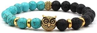 Black Lave Stone Bracelet Mens Bracelets 2018 White Gold Owl Natural Stone Beads Bracelet Vintage Silver Monkey Bracelet (7.5 Inch)