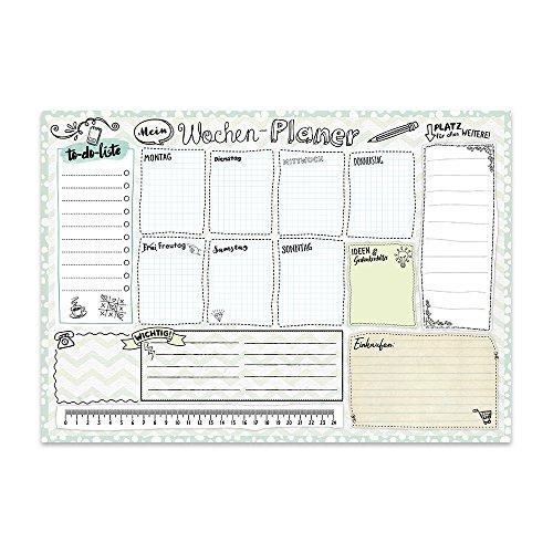 TypeStoff podkładka na biurko z planerem tygodniowym, listą rzeczy do zrobienia, w formacie DIN A3, do planowania, malowania, nakłuwania i notowania z postacią dziennika