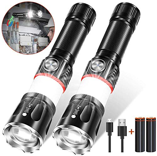 Led Rechargeable Flashlight, Magnetic Flashlight 360° COB Light (18650 Battery Included), Super Bright Zoomable Water-Resistant 4 Light Modes for Camping Hiking Emergency (2 pack)
