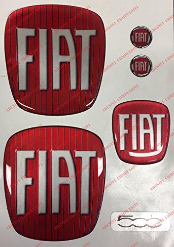 Logo Fiat 500vorne, hinten + Lenkrad + 2Wappen-Schlüsselanhänger. Für Motorhaube und Kofferraum. Aufkleber harzbeschichtet, Effekt 3d. Verzierungen Stil Klassiker