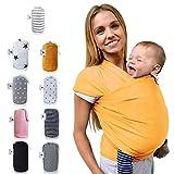 fastique Kids® Baby Pañuelo Portabebés–Elástico para Früh de y Recién Nacidos Niños Pequeños–Incluye instrucciones de Baby Wrap Carrier Marigold Talla:5,2m x 0,55m