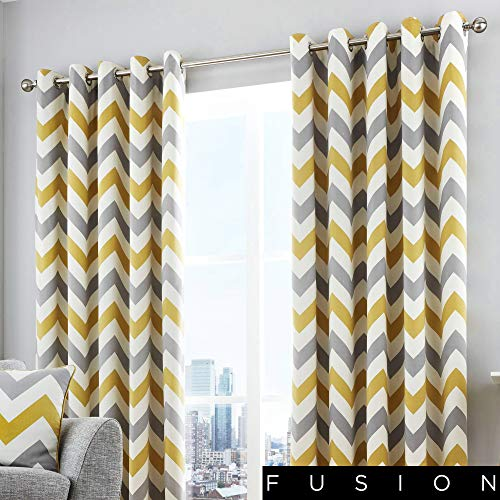 Fusion - Chevron - 100% Cotton Ready-Made Pair of Eyelet Curtains - 66' Width x 90' Drop (168 x 229cm) in Ochre