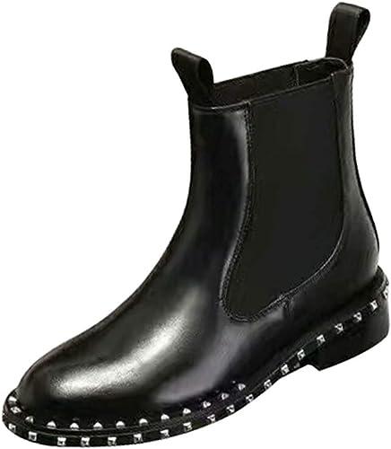 Oudan Bottes de Martin à la Mode Mode pour Femmes épaisses avec Rivets Stretch à la Cheville (Couleuré   Noir, Taille   39EU)  différentes tailles