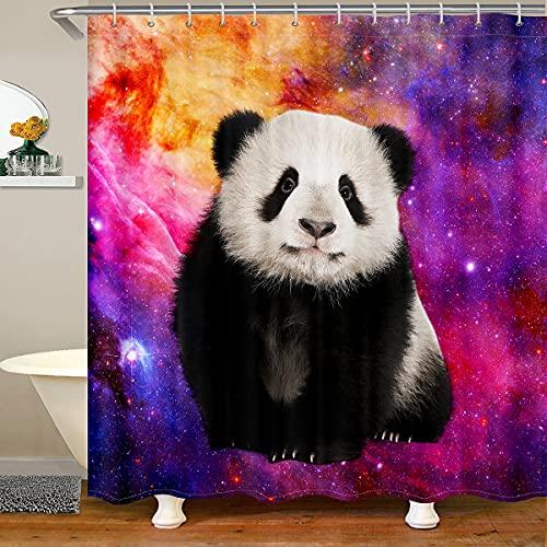 Panda Stoff Duschvorhang,3D Panda Baby Tier Duschvorhang für Badezimmer,Lila Nebel Starry Universe Wasserdichter Duschvorhang für Badezimmer,180x200cm