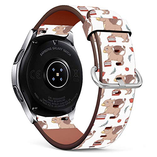 Replacement Leather Printing Wristbands Compatible with Galaxy Watch3 (45mm) / Galaxy Watch (46mm), Standard 22mm Strap - Cartoon Griffin with Books, Coffee and Apples