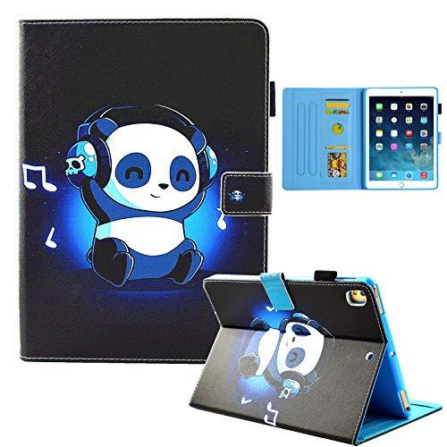 IPad 9.7 inch 2018 2017 Case/iPad Air Case/iPad Air 2 Case/IPA pro 9.7 Inch 2016 Case,Namgal Cute Cartoon PU Leather Folio Smart Cover with Auto Sleep Wake Stand Wallet Case,Headphone Panda