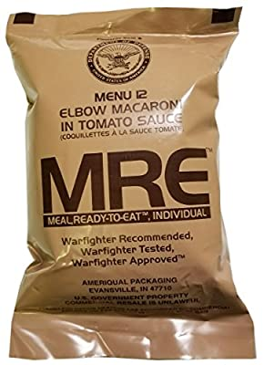 Elbow Macaroni in Tomato Sauce MRE Meal - Genuine US Military Surplus Inspection Date 2020 and Up