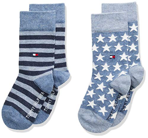 Tommy Hilfiger unisex-child Stars and Stripes Kid's (2 pack) Socks, jeans, 27/30 (2er Pack)