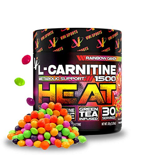 VMI Sports L-Carnitine 1500 Heat Powder, Extreme Fat Burner & Thermogenic Weight Loss Support, Improve Energy, Sweat & Fat Metabolism, Caffeine Free, Fat Burner for Men & Women, Rainbow Candy 30sv
