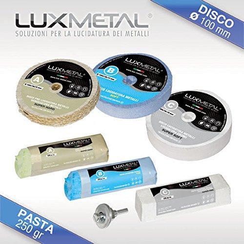 Lux Metal Kit LUCIDATURA 02/100 mm Metalli Alluminio Ferro Acciaio Inox Ottone Bronzo Rame Argento Oro Pulire per LUCIDARE Pulizia TAMPONE Ruota Disco Pasta ABRASIVA ABRASIVI